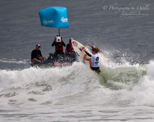 Alana Blanchard cutting up a wave during QF2