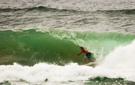 Joel Parkinson in the barrel during his first high scoring wave of 8.67
