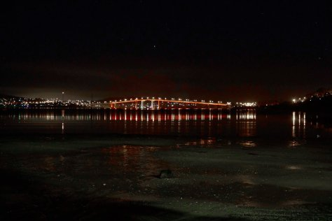 The Tasman Bridge done red for Dark Mofo's 2015 theme of paint the town red.