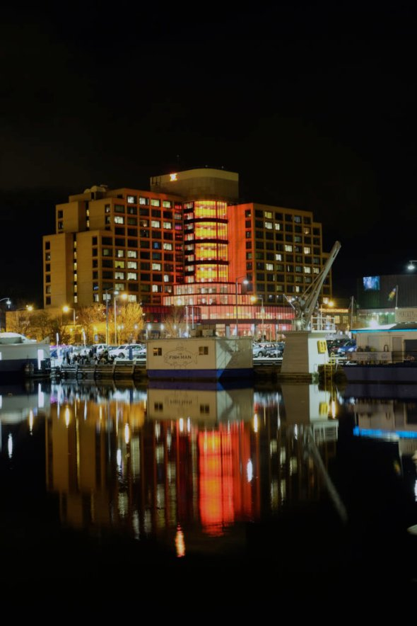 The Grand Chancellor Hotel has joined in the 'red' theme for Dark Mofo